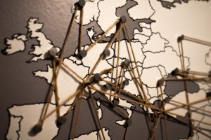 Photos of points on a map to illustrate hague convention and debt collection