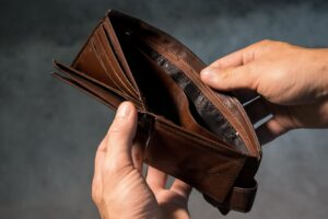 An empty wallet to represent a debtor getting their money back