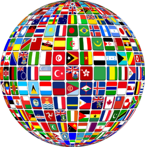 Globe of flags to represent domesticating a foreign country judgment