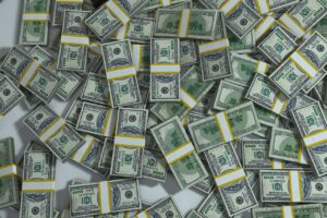 Piles of money to represent Paying Personal Expenses from Business Account